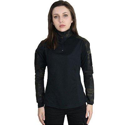 Combat Shirt Feminina Bélica Multicam Black
