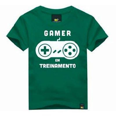 Camiseta Infantil Gamer em Treinamento