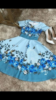 Vestido godê azul gaiola