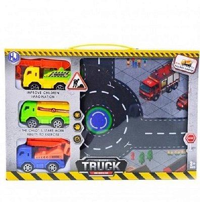 Tapete Pista Da Cidade Com 3 Caminhões Trator Com Fricção 80cm