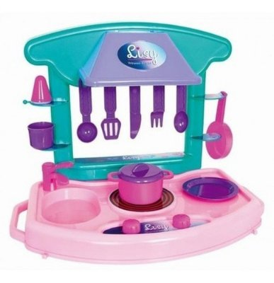 Kit Cozinha Infantil Com Fogão De 34 Cm Com Prateleira