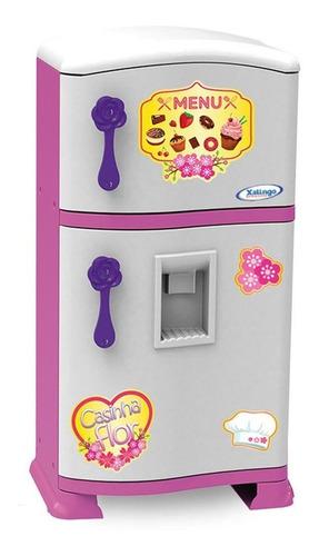 Geladeira Com Freezer Refrigerador Infantil Pop Casinha Flor