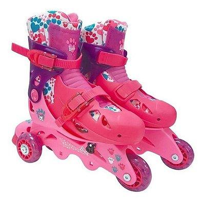 Patins Barbie Com Kit Proteção Transformar 3 Roda E 4 Rodas