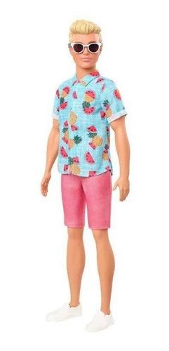 Boneco Ken Fashionistas 152 Loiro Camisa Tropical - Bermuda