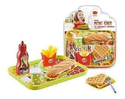 Brinquedo Kit Lanchonete Sanduíche Mini Chef Completo