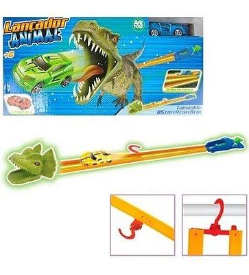 Pista Lançador Dinossauro Com Carrinho Brilha No Escuro