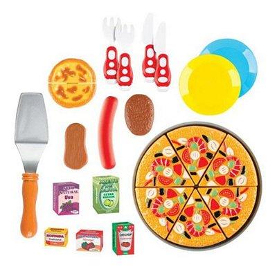 Kit Comidinha Food Pizza C Acessorios 22 Pcs De Velcro