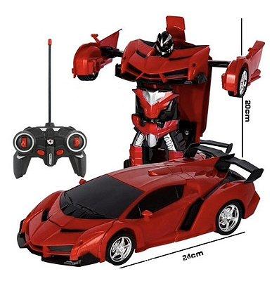 Carrinho De Controle Remoto Ferrari Transformers 2 Em 1 Robo - Vermelho