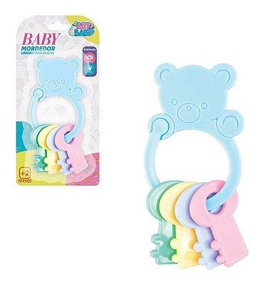 Kit 2 Mordedor Infantil Baby Urso Com Chaves Colorido Bebe