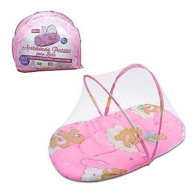 Mosquiteiro Portátil - Conforto e Proteção Para O Bebê Rosa
