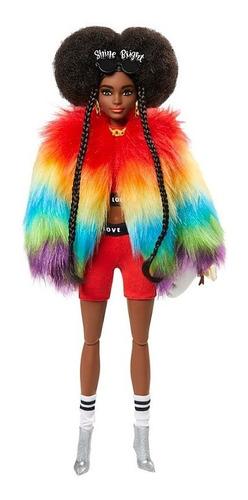 Boneca Barbie Extra Negra Edição Especia 2021 Casaco Rainbow