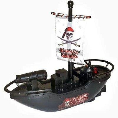 Barco Pirata Com Motor Flutua Na Agua - Brinquedo De Banho