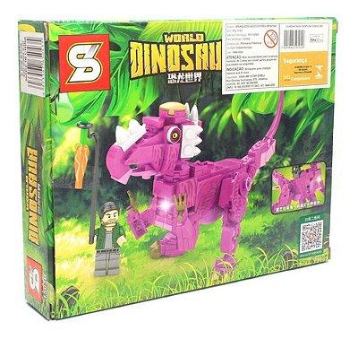 Bloco De Montar Dinossauro Com 190 Peças Triceratops