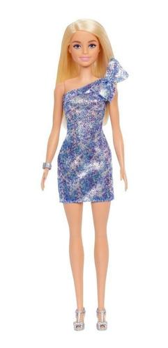 Boneca Barbie Fashionista Loira Vestido Azul Com Glitter