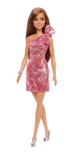 Boneca Barbie Fashionista Morena Vestido Vermelho Glitter