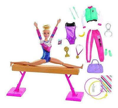 Boneca Barbie Ginástica Playset Loira - 2 Roupa - Com Barra