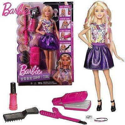 Boneca Barbie Ondas E Cachos - Cabelo Magico Vestido Roxo