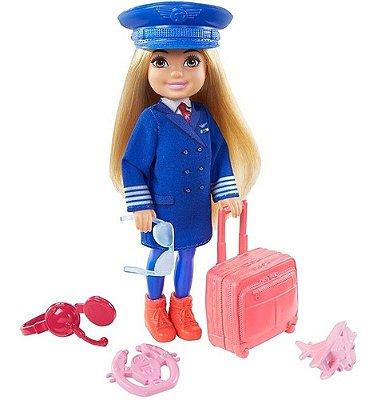 Boneca Barbie Playset Chelsea Prosissões Piloto De Avião