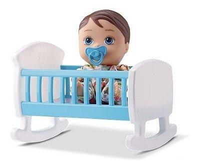 Boneca Little Dolls Com Bercinho Menino Azul E Chupeta