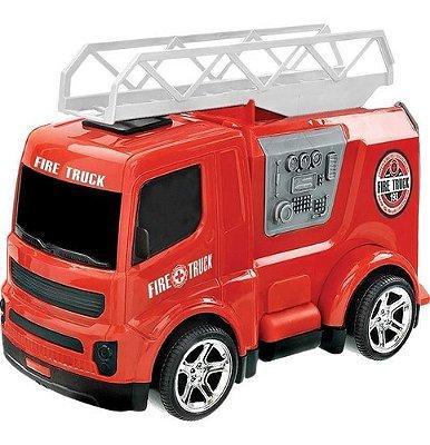 Caminhão Dos Bombeiro Fire Truck Com Escada Vermelho 27 Cm
