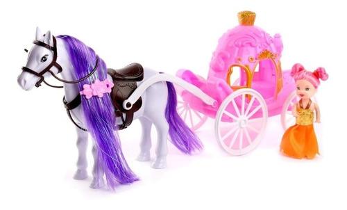 Carruagem Magica Com Cavalo Ponny E Princesa Colorido Linda