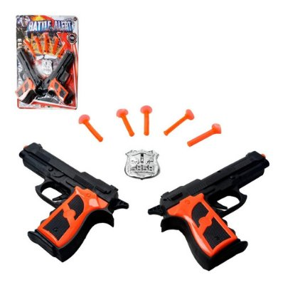 Kit Arminhas Com 2 Pistola Lança Dardos 8 Peças Distintivo