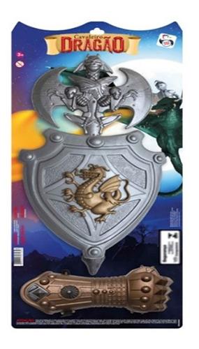 Kit Cavaleiro Dragão Combate Escudo Luva Machado Infantil