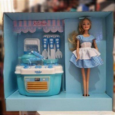 Kit Cozinha Com Boneca E Fogão Kitchen Versão De Luxo Azul