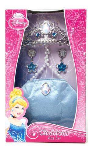 Kit Disney Com Tiara, Bolsa E Brincos - Princesa Cinderela