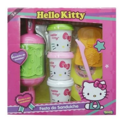 Kit Massinha Da Hello Kitty Festa Do Sanduiche 3 Potinhos