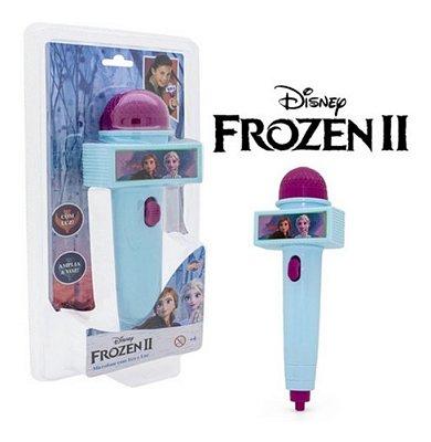 Microfone Musical Frozen 2 Com Eco E Luz Infantil Azul