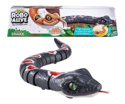 Robo Alive - Cobra Serpente Com Movimento Rasteja C Lingua - Preta