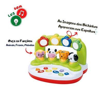 Teclado Orquestra Bichos Baby Infantil Com Som E Luz Educati
