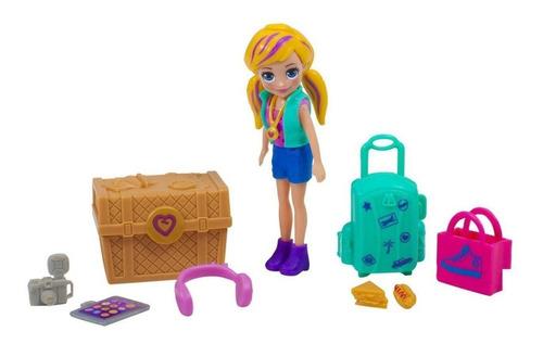 Polly Pocket Kit Turista Estiloso C/ Mala De Viagem E Bau