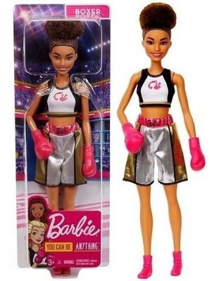 Boneca Barbie Profissões Negra Boxeadora Estilosa Com Luvas