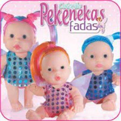 Kit 3 Boneca Pekenekas Fadas Com Cabelo Coloridos
