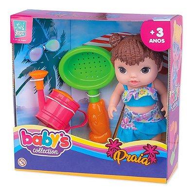 Boneca Baby Praia Com Acessórios Regador, Óculos E Pazinha M