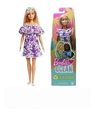 Boneca Barbie Loira Vestido Floral Ecológica Love The Ocean