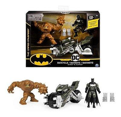 Boneco Conjunto Batman Vs Clayface Batcycle Batmoto 1 Edição