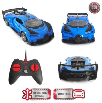 Carrinho Controle Remoto Bugatti 8 Funções C/ Luz Abre Porta - Azul