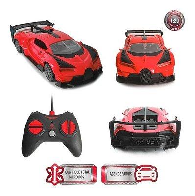 Carrinho Controle Remoto Bugatti 8 Funções C/ Luz Abre Porta - Vermelho