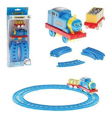 Trenzinho A Pilha Azul Briquedo Divertido Trem Com Vagão