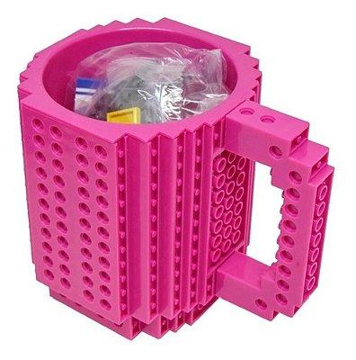 Caneca Divertida Blocos De Monta E Desmonta 350ml - Pink