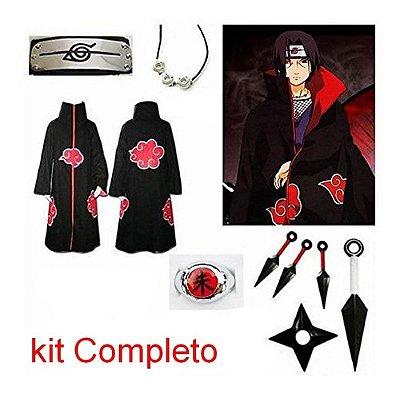 Cosplay Naruto Manto Akatsuki Itachi C/ Colar Anel Bandana GG