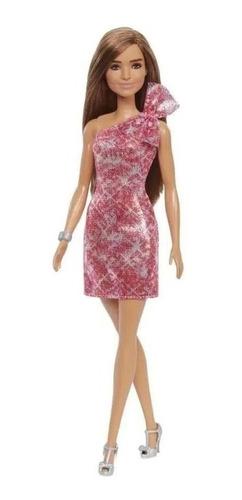 Boneca Barbie - Glitz - Morena - Vestido Rosa Brilhante