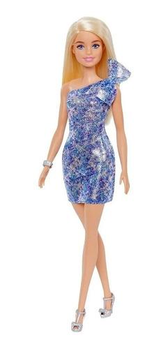 Boneca Barbie Vestido Azul Brilhante De Luxo Gala + Brinde