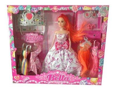 Boneca Bella Fashion Doll Com Coroa E Acessorios Sotido