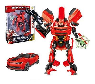 Brinquedo Robô Shide Robot Transforma Em Carro 32 Cm Warrior