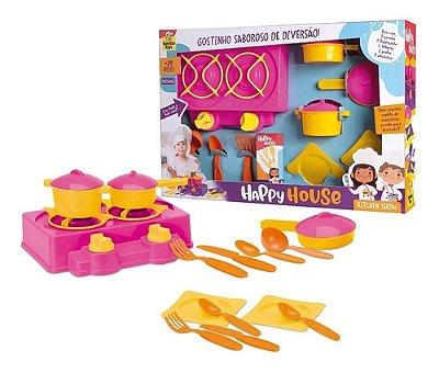 Kit Cozinha Infantil Happy House Fogao Panelinhas Meninas