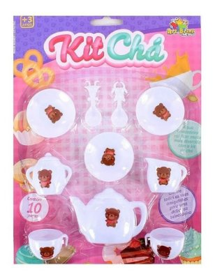 Kit De Chá Chazinho Com 10 Peças Infantil Branco Lindo